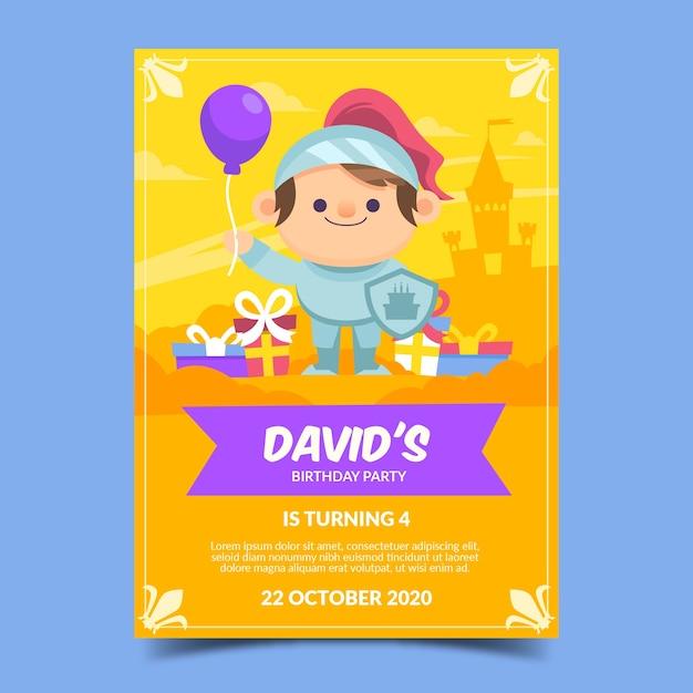 Verjaardagskaart sjabloon voor kinderen Gratis Vector