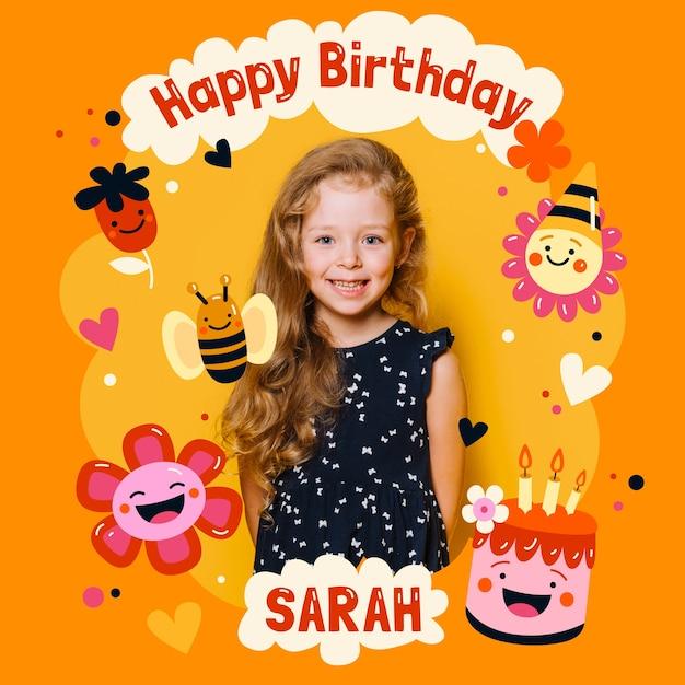 Verjaardagskaart uitnodiging voor kinderen met foto sjabloon Gratis Vector