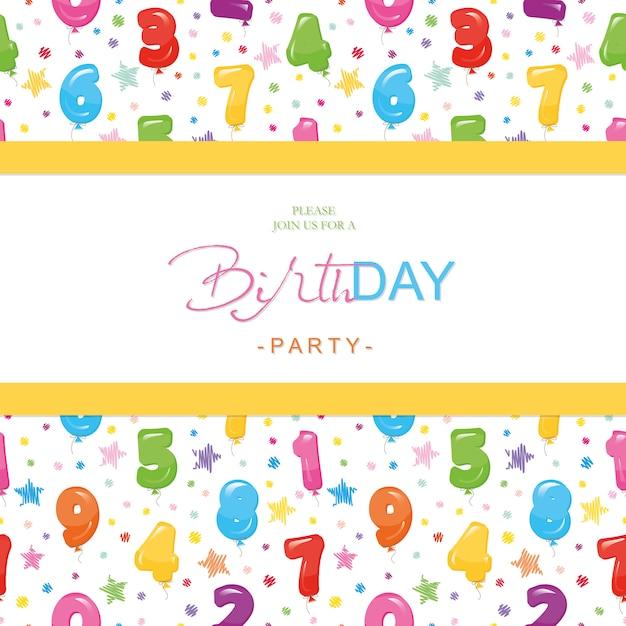 Verjaardagskaart voor kinderen. inclusief naadloos patroon met glanzende ballonnummers. Premium Vector
