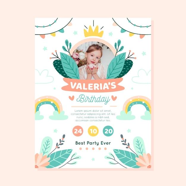 Verjaardagskaart voor kinderen / uitnodiging sjabloon met foto Gratis Vector