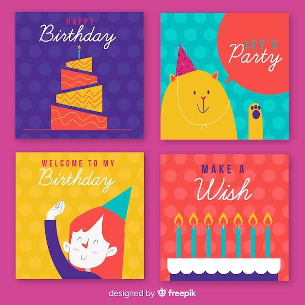 Verjaardagskaartcollectie zwaaien met personages Gratis Vector