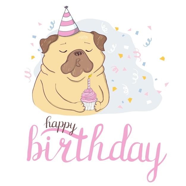 Verjaardagskaarten set met schattige cartoon honden. Premium Vector