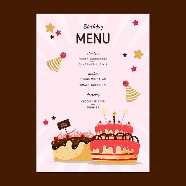 Verjaardagsmenu voor kinderen Gratis Vector