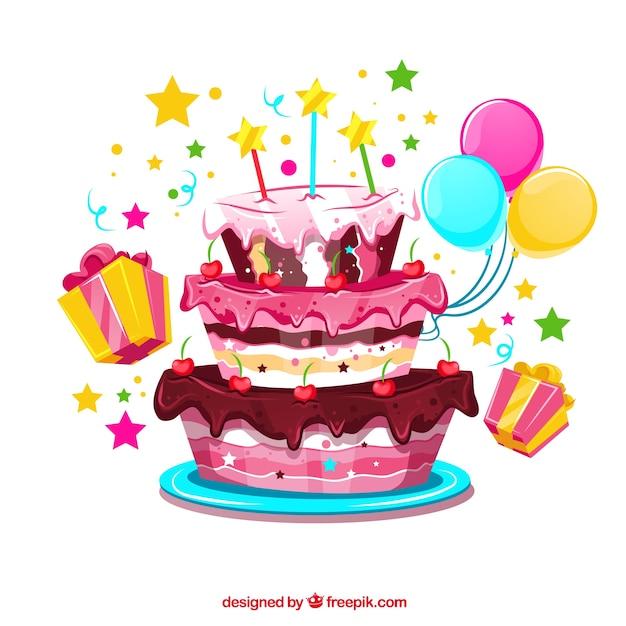 Verjaardagstaart achtergrond met ballonnen en geschenken Gratis Vector