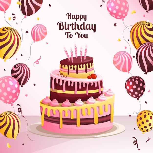 Verjaardagstaart achtergrond met ballonnen Gratis Vector
