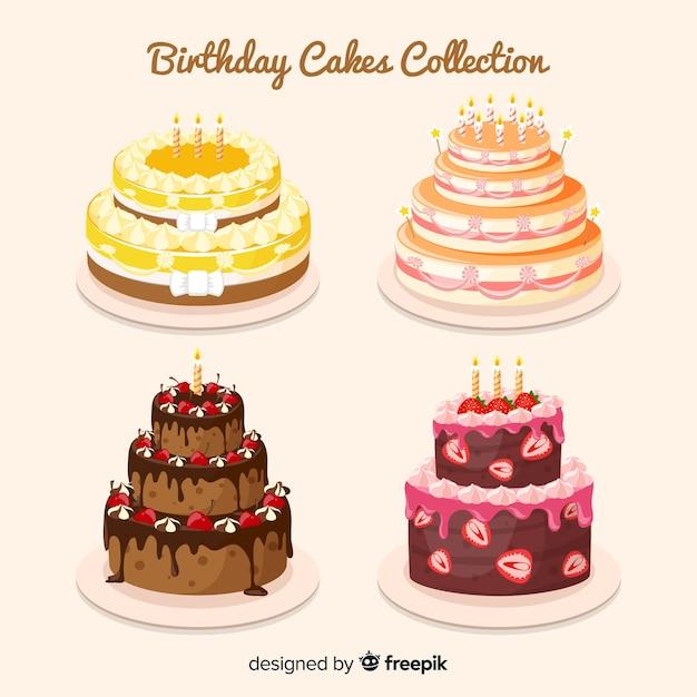 Verjaardagstaart-collectie Gratis Vector