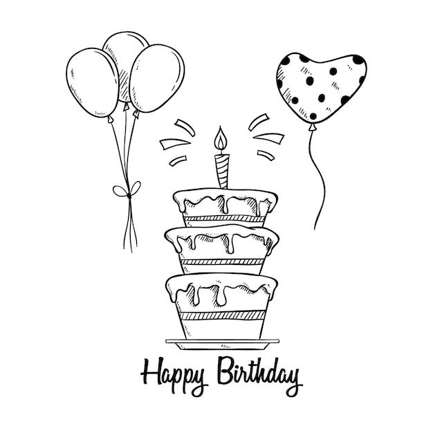 Verjaardagstaart met ballon en kaars met behulp van schetsmatige stijl Premium Vector