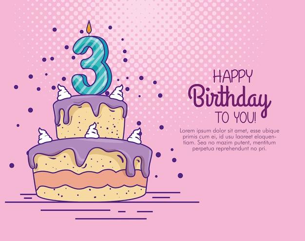 Verjaardagstaart met kaars nummer drie decoratie Gratis Vector