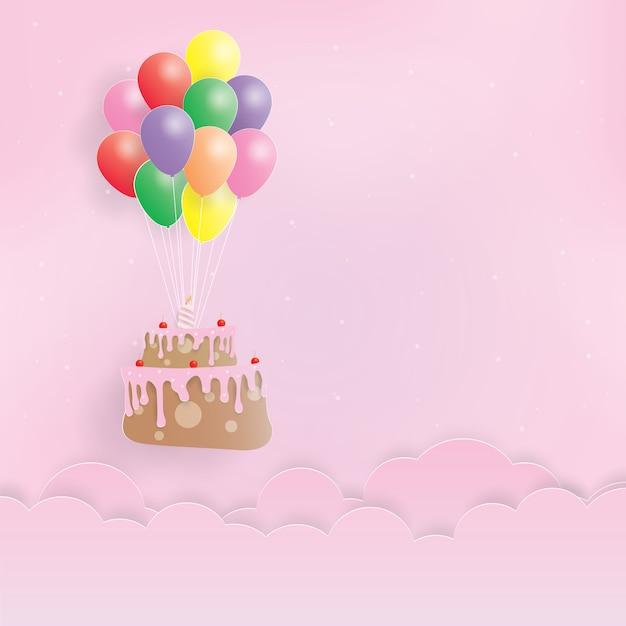 Verjaardagstaart opknoping met ballonnen, gelukkige verjaardag, papier kunst, papier knippen, ambachtelijke vector, ontwerp Premium Vector