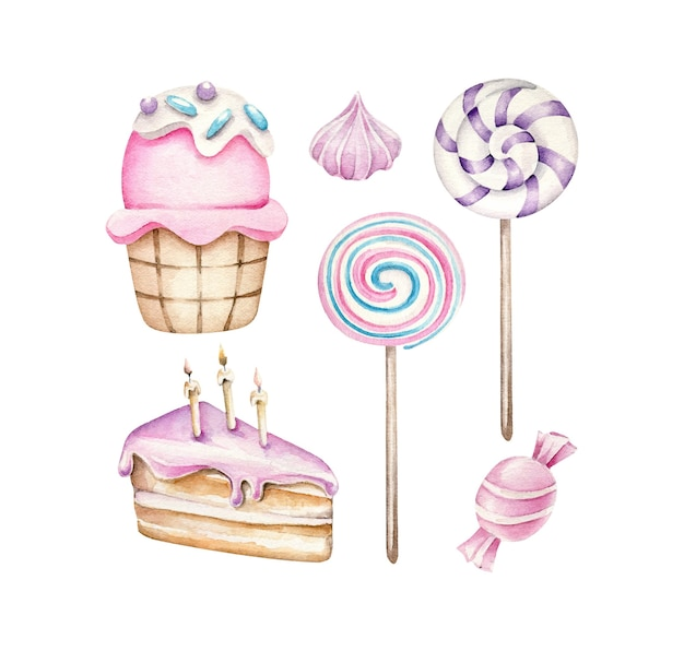 Verjaardagstaart snoep cupcake lollipop Premium Vector