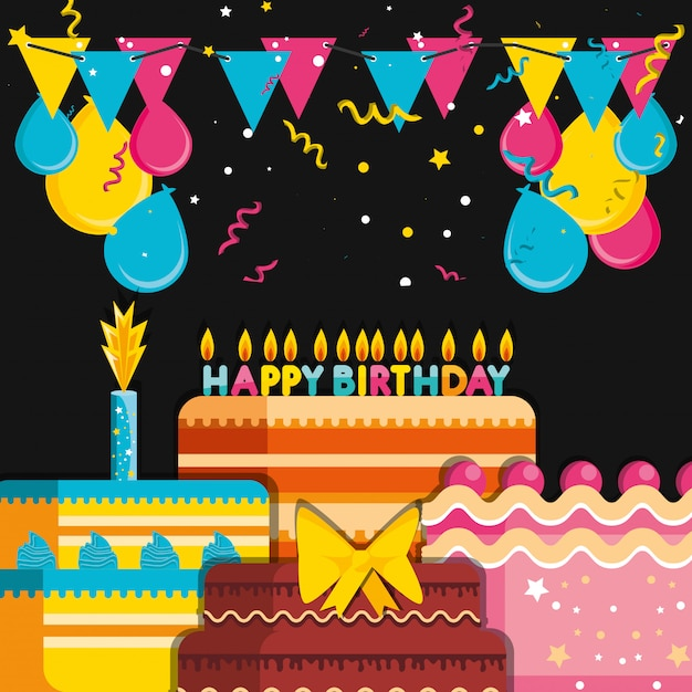 Verjaardagstaarten met decoratie van ballonnen helium Premium Vector
