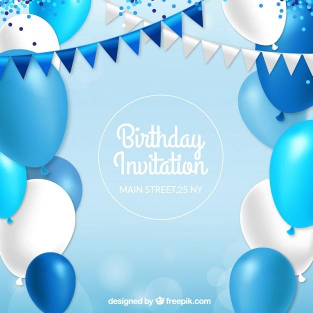 Verjaardagsuitnodiging met blauwe ballonnen Gratis Vector
