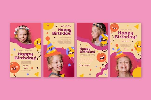 Verjaardagsverhalen voor kinderen op instagram Gratis Vector