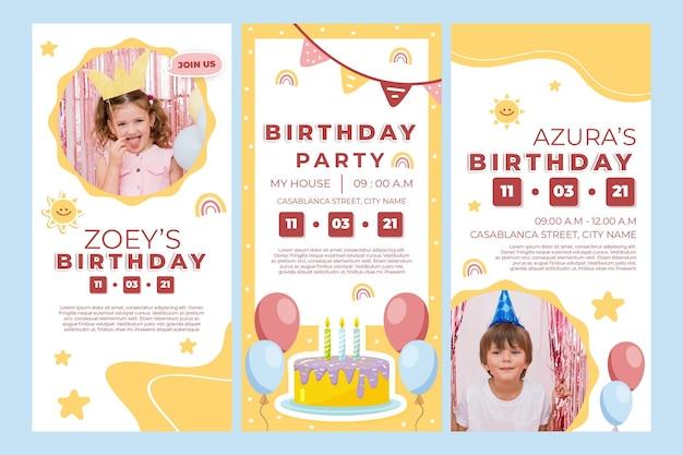 Verjaardagsverhalen voor kinderen op instagram Premium Vector
