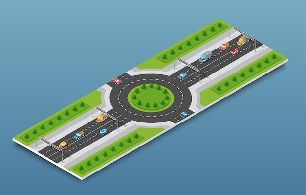 Verkeer van de stad het isometrische snelweg op de straatweg Premium Vector