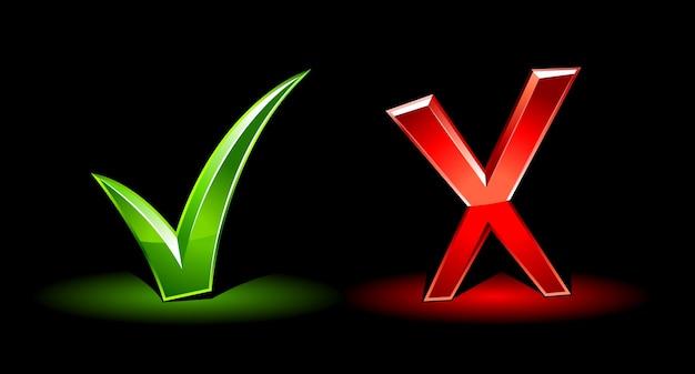 Verkeerd en symbolen controleren Gratis Vector