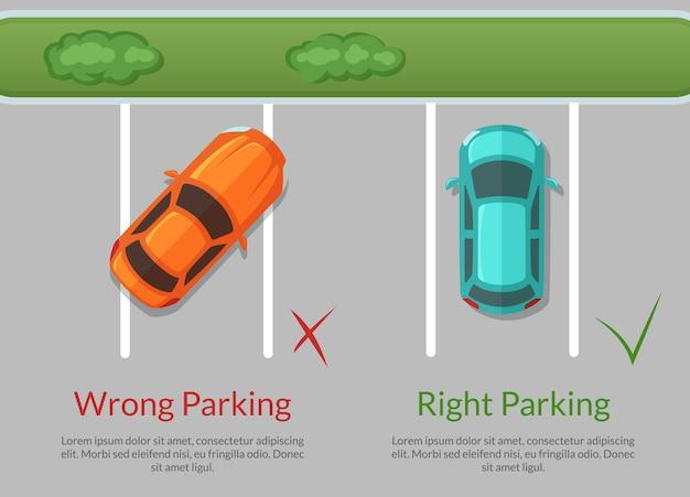 Verkeerde en juiste parkeerauto's Premium Vector