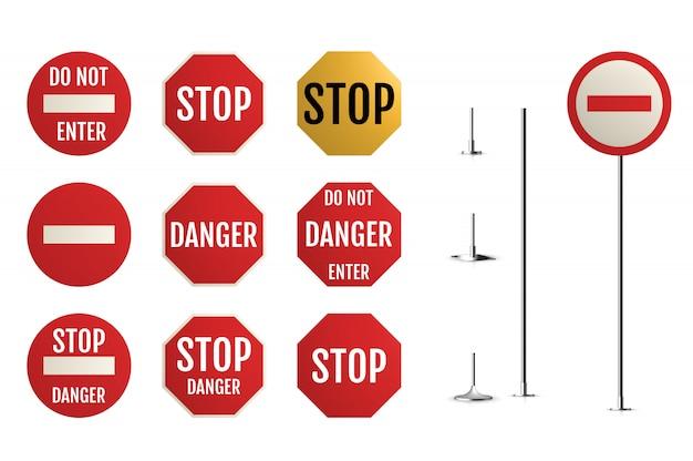 Verkeersborden. lege waarschuwing, gevaar Premium Vector