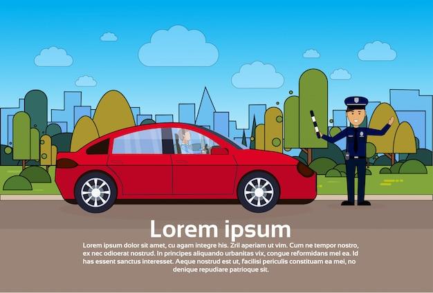 Verkeerscontrolemechanismepolitieagent op weg met auto over stad Premium Vector