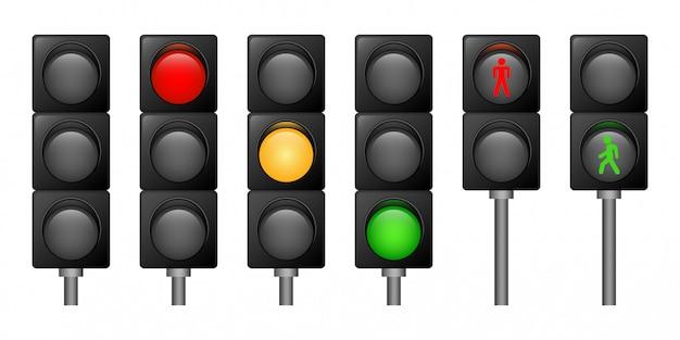 Verkeerslichten geplaatste pictogrammen, realistische stijl Premium Vector