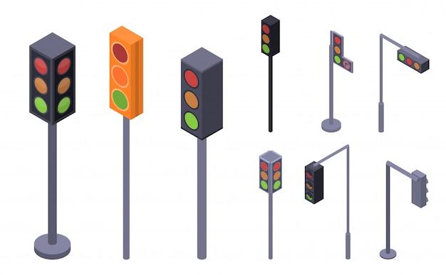 Verkeerslichten pictogramserie. isometrische reeks verkeerslichten vectorpictogrammen voor webontwerp dat op witte achtergrond wordt geïsoleerd Premium Vector