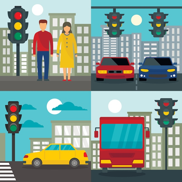 Verkeerslichten semafoor achtergronden Premium Vector