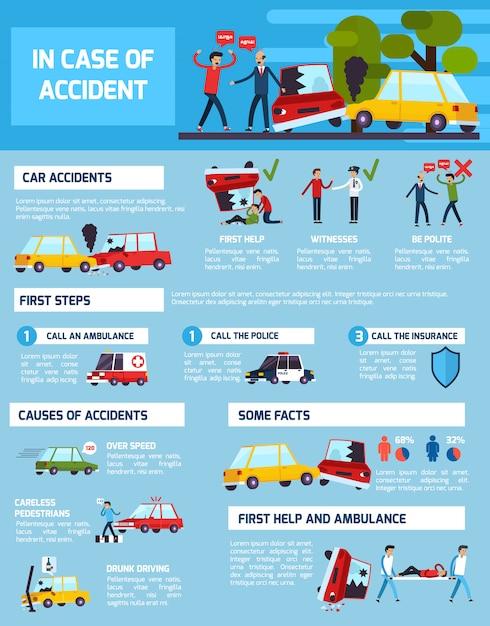 Verkeersongevallen infographic set Gratis Vector