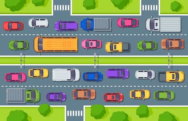 Verkeersopstopping. snelweg bovenaanzicht, vrachtwagens auto's op de weg en auto verkeersleiding illustratie Premium Vector