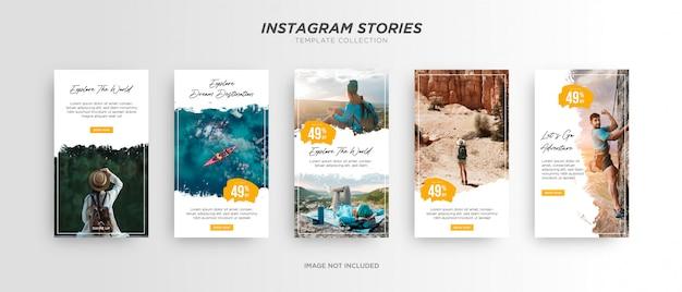 Verken de wereld witte penseel media banner instagram tories reizen Premium Vector