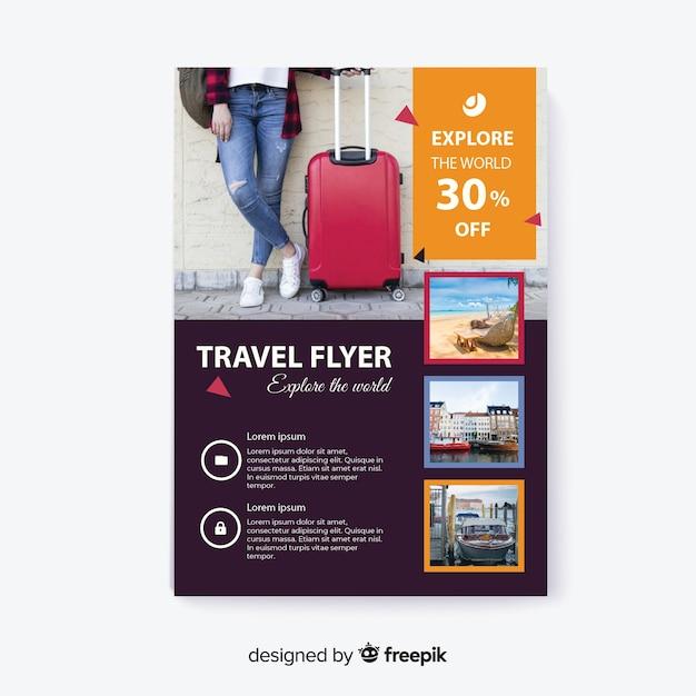 Verken de wereldreiziger met bagage Gratis Vector