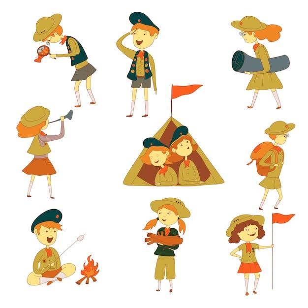 Verkenners tijdens een wandeling. jongens en meisjes in een tent, kampvuur, met een vlag en een kleed. illustratie op witte achtergrond. Premium Vector