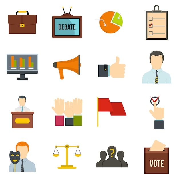 Verkiezing stemmingspictogrammen die in vlakke stijl worden geplaatst Premium Vector