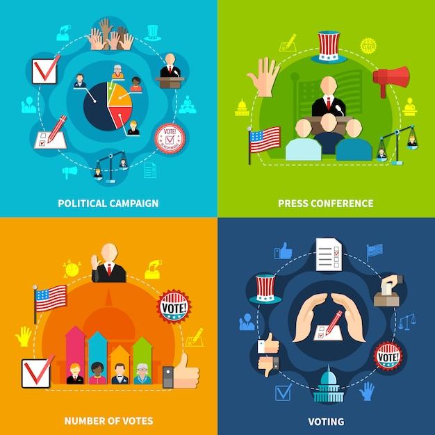 Verkiezingen concept set Gratis Vector