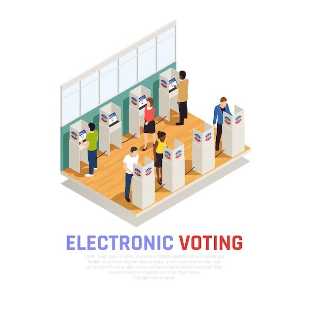 Verkiezingen en stemmen isometrische samenstelling met elektronische verkiezingen symbolen Gratis Vector
