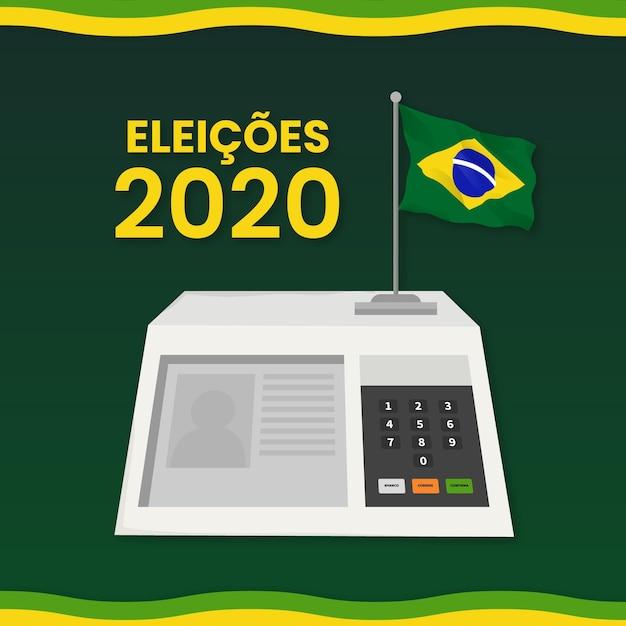 Verkiezingen in brazilië in digitaal formaat geïllustreerd Premium Vector