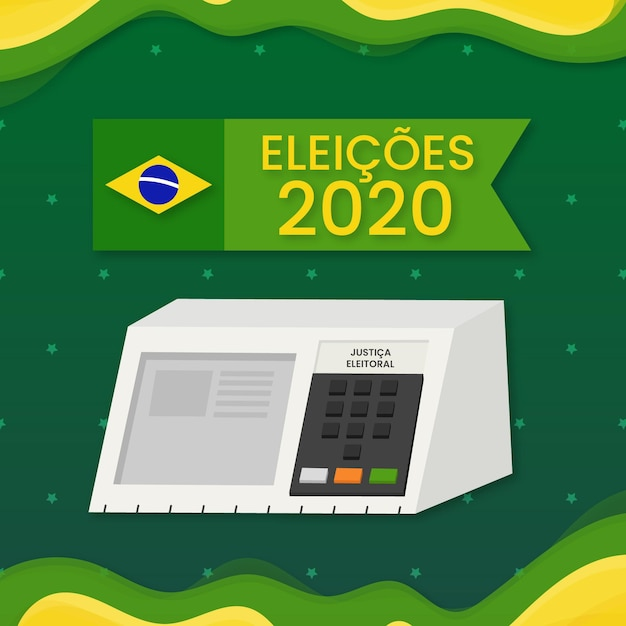 Verkiezingen in brazilië in digitaal formaat Premium Vector