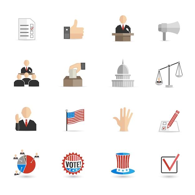 Verkiezingen pictogrammen platte set Gratis Vector