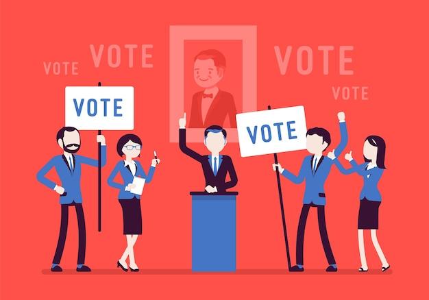 Verkiezingscampagne stemmen Premium Vector