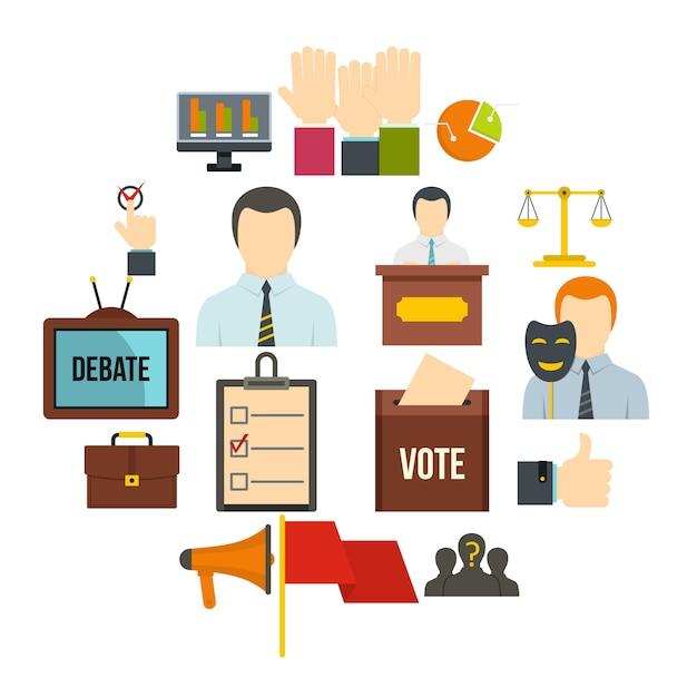 Verkiezingsstemmingspictogrammen die in vlakke stijl worden geplaatst Premium Vector