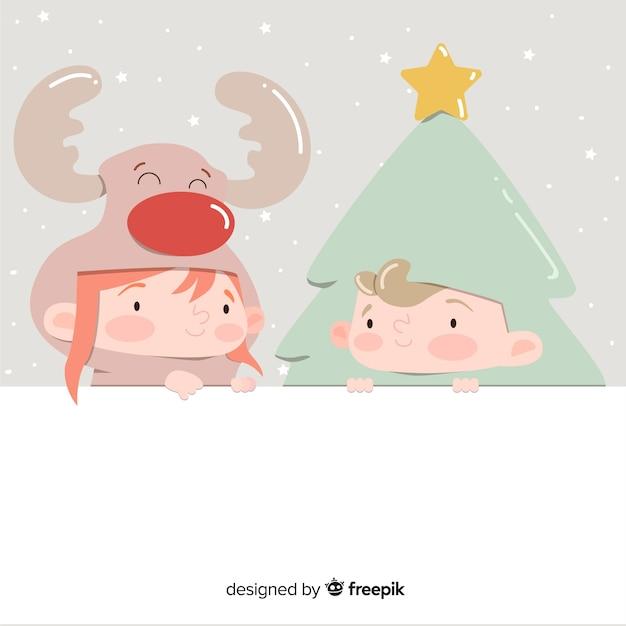 Verkleed kerstmis achtergrond van vrienden Gratis Vector