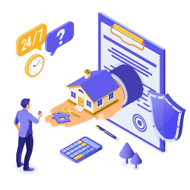 Verkoop, aankoop, huur, hypotheek huis isometrische concept voor poster Premium Vector