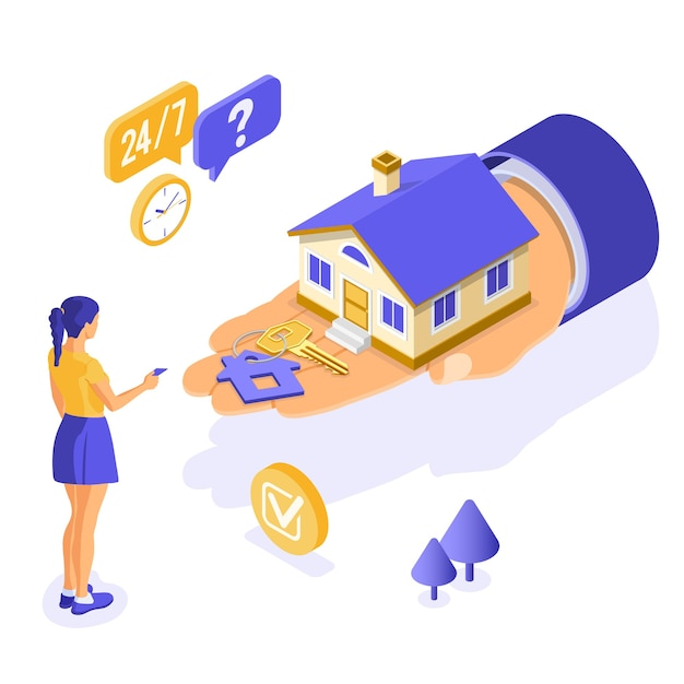 Verkoop, aankoop, huur, hypotheekhuis isometrisch concept voor poster, landing, reclame met huis bij de hand, meisje investeert geld in onroerend goed, sleutel, 24-uurs ondersteuning. Premium Vector