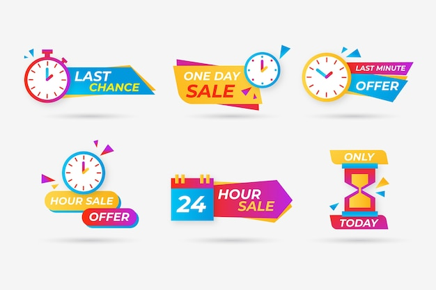 Verkoop aftellen banner set Gratis Vector