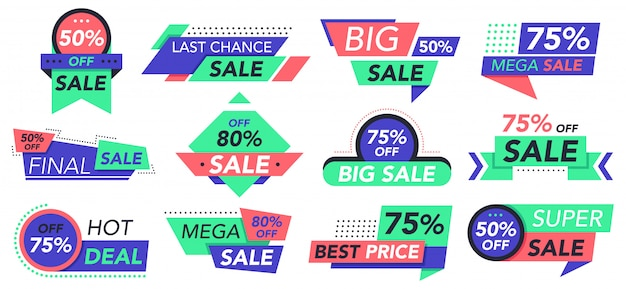 Verkoop badges. retail, grote verkoop en beste aanbieding-tags, winkelkortingsstickers. goedkope prijs reclame etiketten pictogrammen instellen. illustratie korting detailhandel, aanbieding sticker, banner coupon promotie Premium Vector