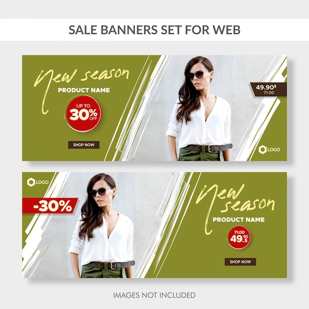 Verkoop banners ingesteld voor web Premium Vector