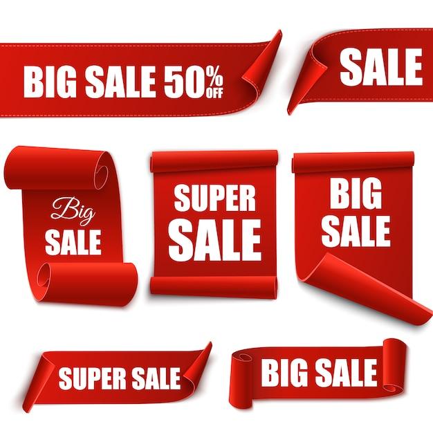 Verkoop banners. set aanbiedingstags. Premium Vector