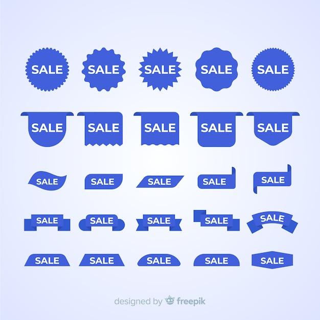 Verkoop blauw label pack Gratis Vector