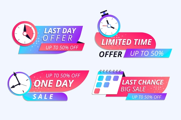 Verkoop countdown banner collectie Gratis Vector