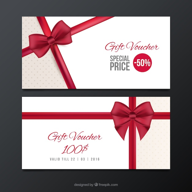 Verkoop coupons met een rode strik Gratis Vector