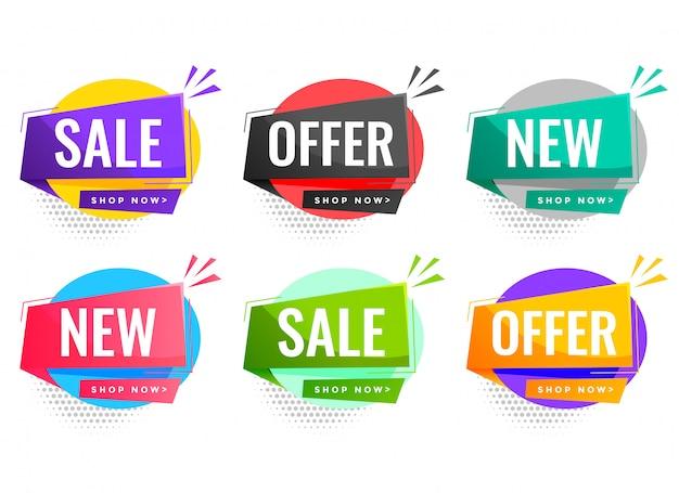 Verkoop en aanbiedingenetiketten die voor bedrijfsbevordering worden geplaatst Gratis Vector